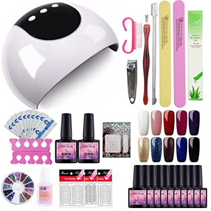 Saint-Acior Set Manicura y Pedicura 24W UV/LED Lámpara Kit Uñas de Gel