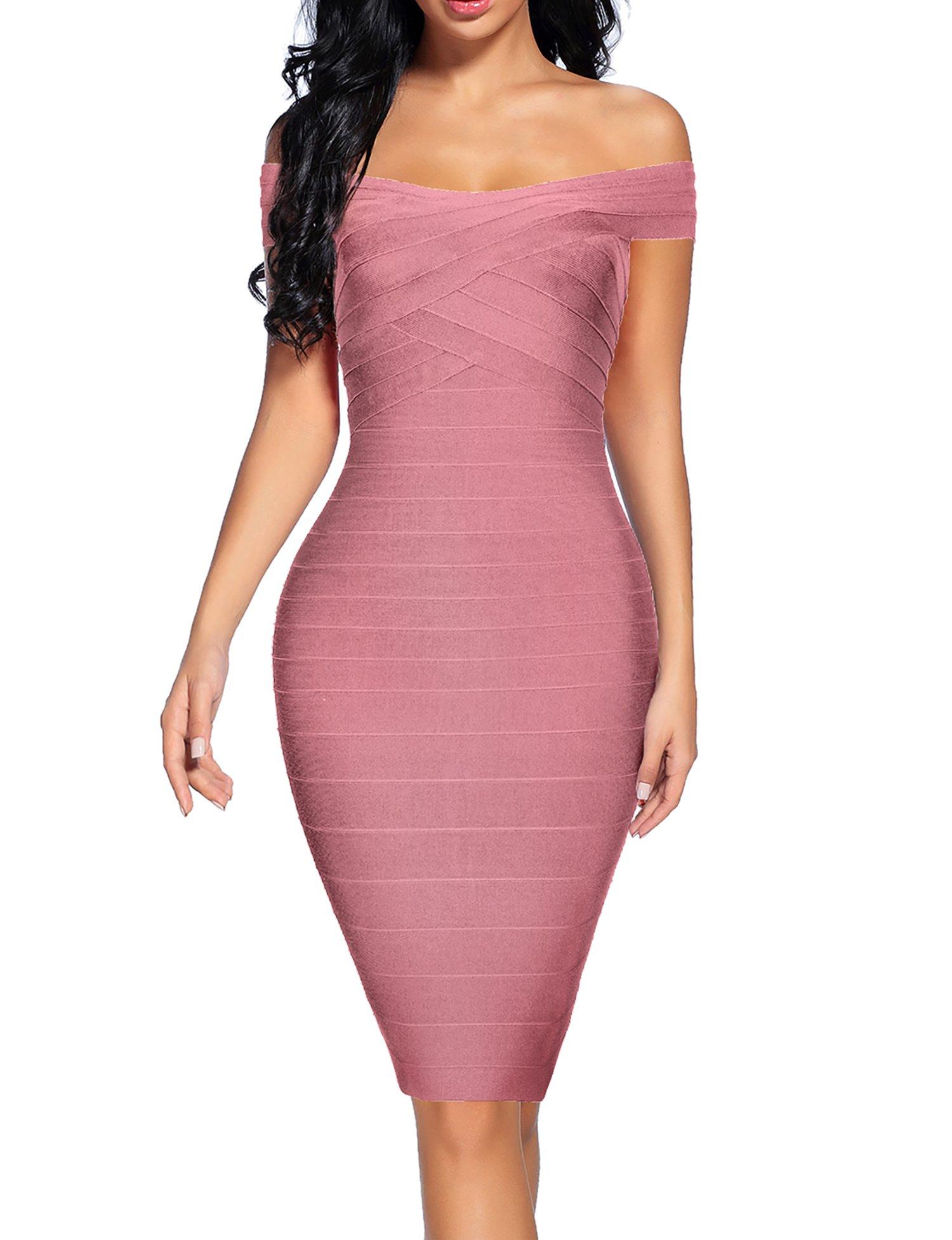 houstil Women's Off Shoulder Spaghetti Bandage Bodycon Dress Party (M, Pink)