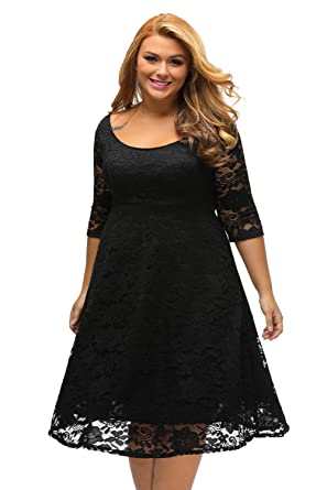 Sunshine Plus Size Dress White Floral Lace Sleeved Fit and Flare Curvy Dress  (XXXL fc556b7f3429