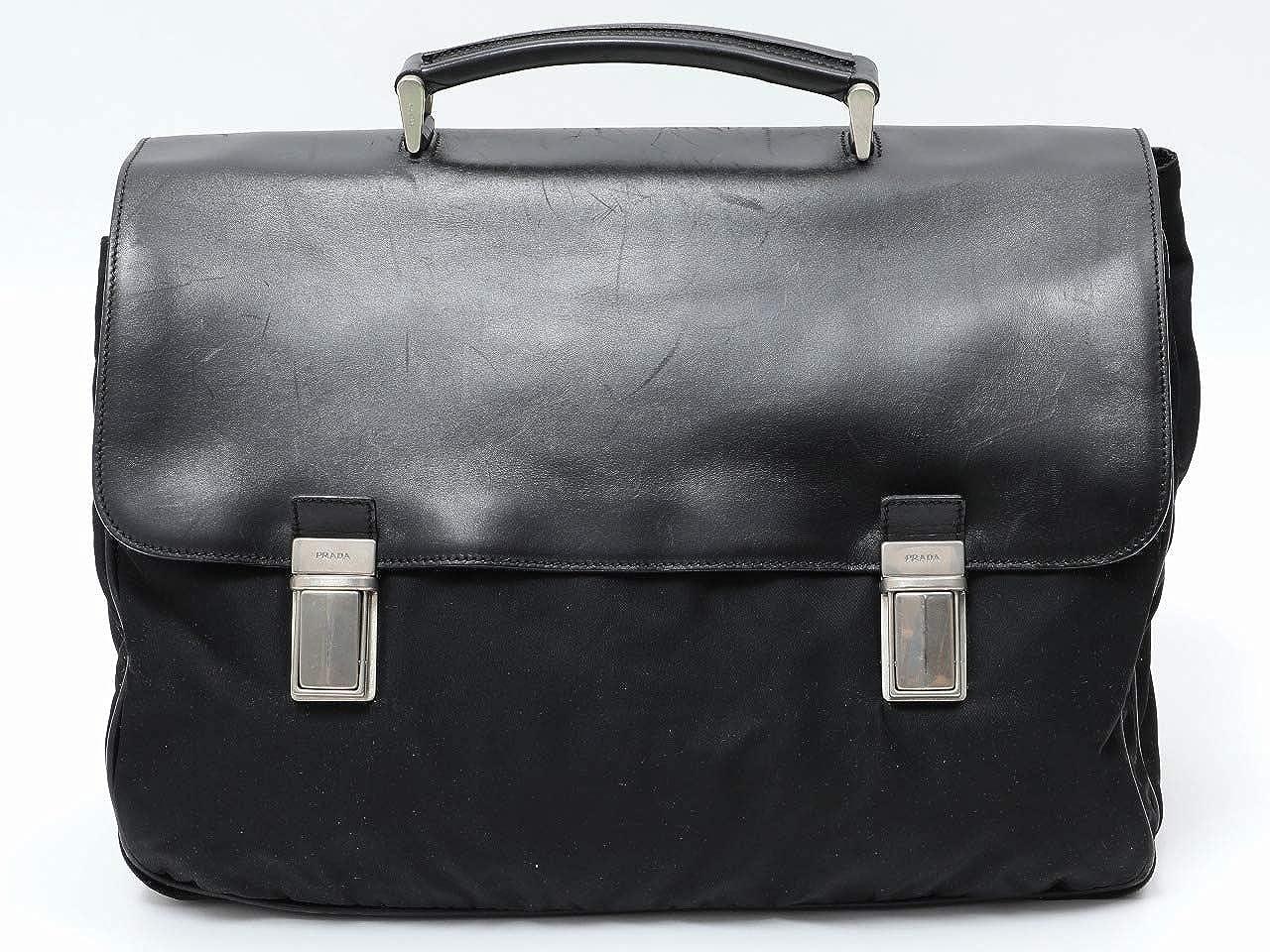 [プラダ]PRADA ビジネスバッグ ブリーフケース 書類かばん 黒/ナイロン×革[中古]   B07JG4FN3Q