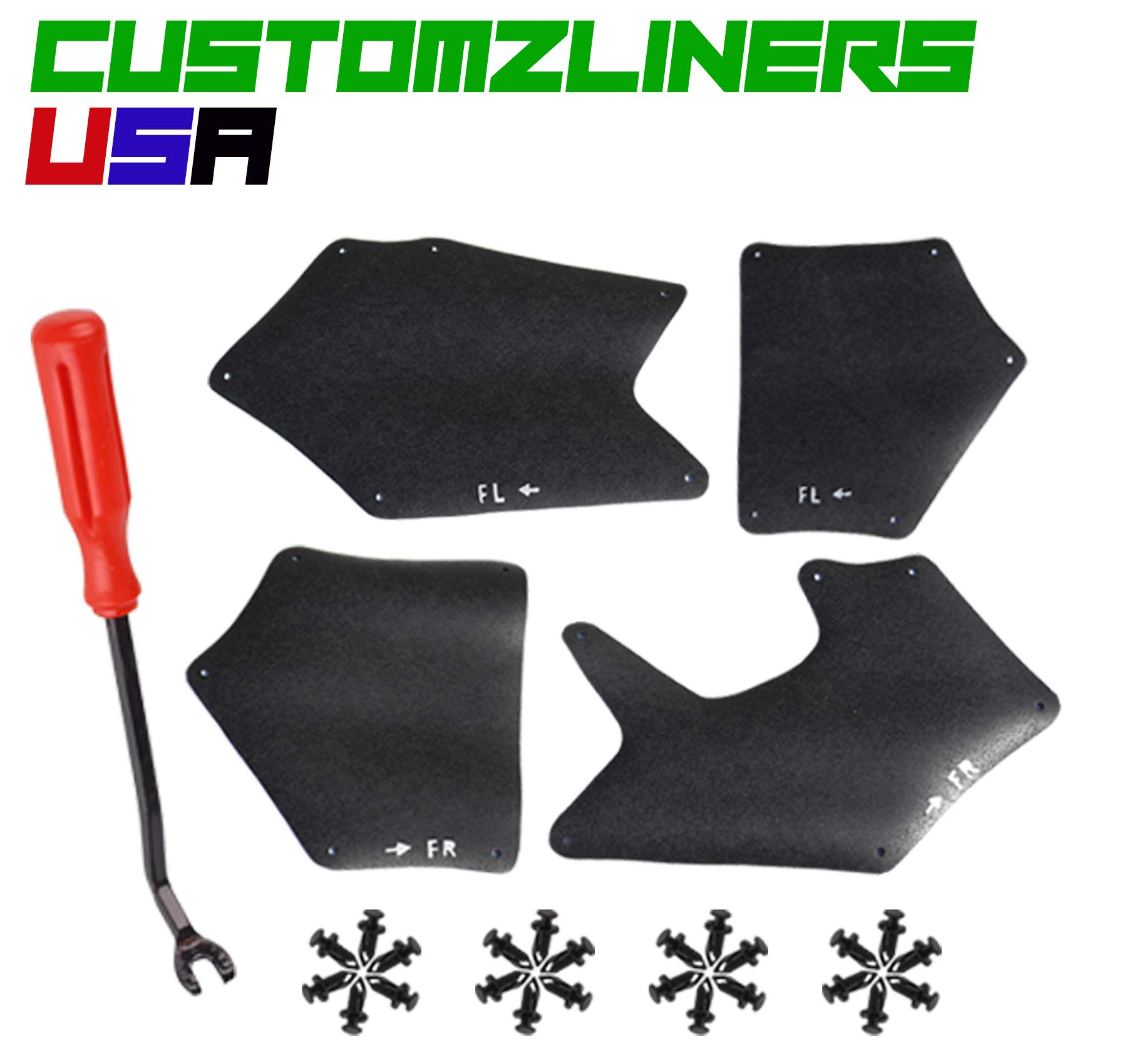 CUSTOMZLINERS USA Splash Shield, Splash Guard, Skirt, Flaps, Seal, Apron and Fender Liner for Toyota Tundra 2007-2018 Sequoia 2008-2018 Retainer Clips