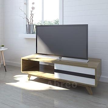 Charming Vintage TV Wood Stand Unit Storage Drawer Shelf Retro Coffee Table Furniture  (1 Drawer)