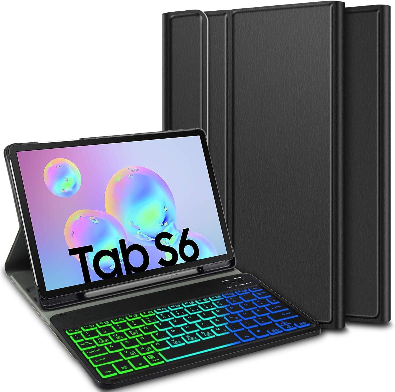 ELTD Teclado Estuche con Portalápices para Samsung Tab S6 10.5 Pouces,[QWERTY Ingles,Sin ñ],7 retroiluminación LED de Colores con 3 Niveles Control, ...