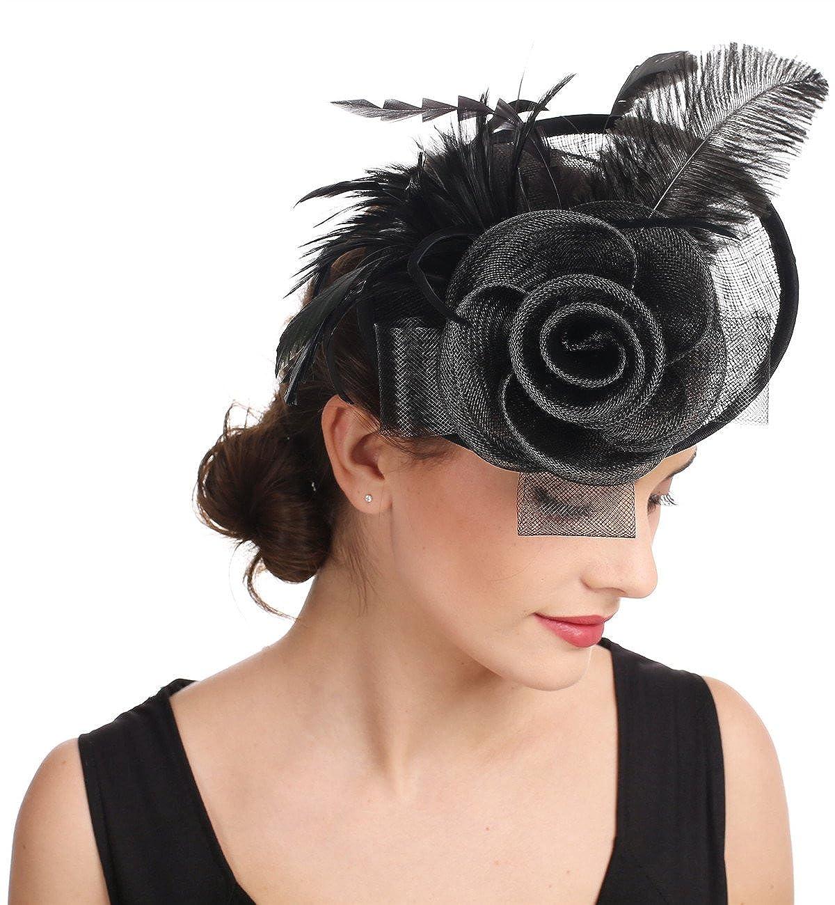 Fascinator Blume Netzm/ütze Feder Mesh Netz Schleier Tea Party Derby Hut mit Clip und Haarband f/ür Frauen