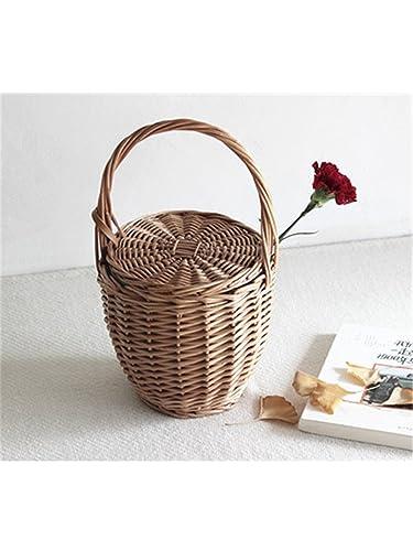 George Gouge Women Bucket Bag Basket Picnic Natural Material Rattan Straw Bag Large Capacity Beach Bags