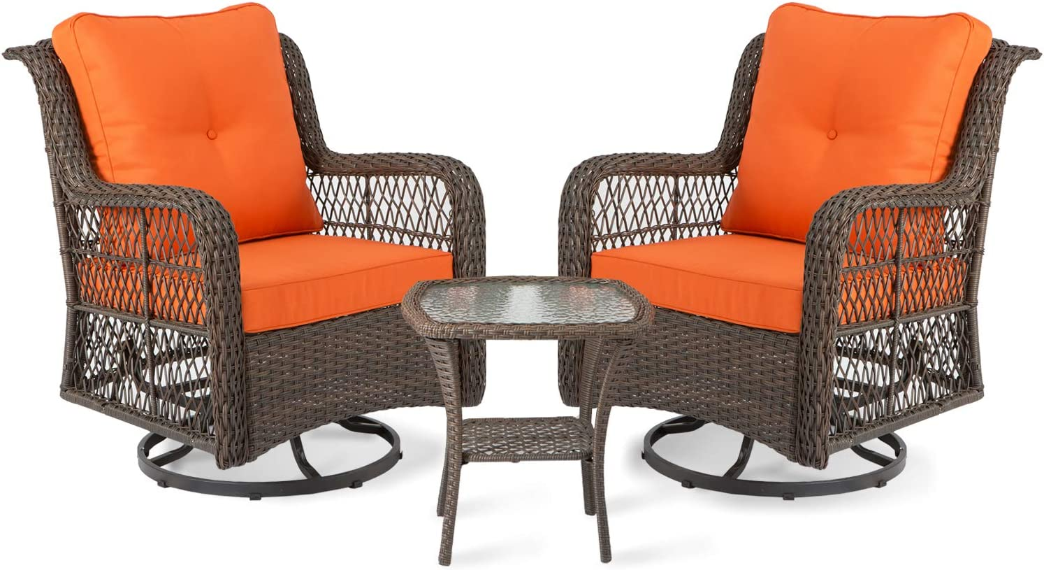 aoxun 3 piece rocking rattan chair outdoor patio bistro furniture sets clearance 2 cushioned swivel wicker chair with coffee table orange