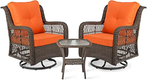 Aoxun 3-Piece Rocking Rattan Chair Outdoor