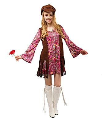 9a52eded822 Image Unavailable. Image not available for. Color  flatwhite Ladies Fringe  60 s Hippie Costume for Women