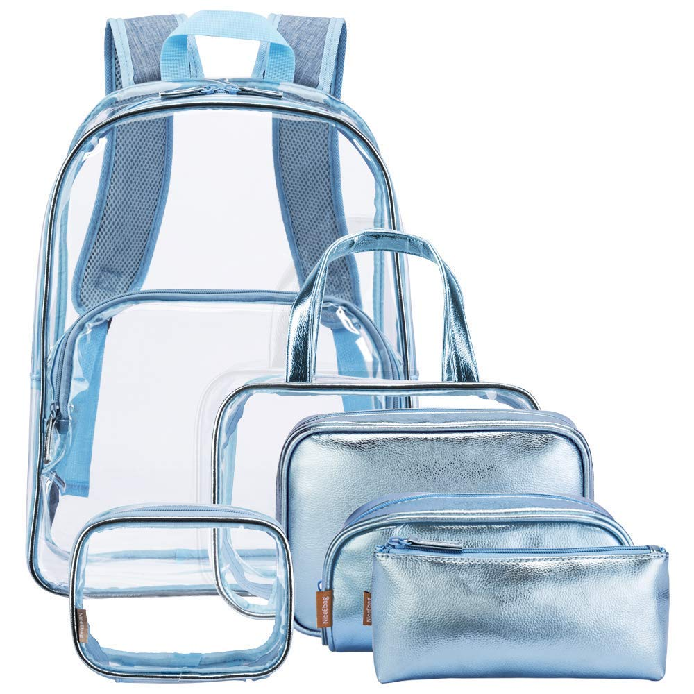 6 in 1 Clear Backpack with Cosmetic Bag & Case, Transparent PVC Shoulder Rucksack School Backpack Outdoor Bookbag Casual Daypack Portable Travel Toiletry Bag Makeup Quart Luggage Organiser, Black