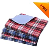 "KOOLTAIL Washable Pee Pads for Dogs - 4 Pack 24"" x 36"" Plaid Puppy Potty Training Pads, Reusable Whelping Pads Blue & Red"
