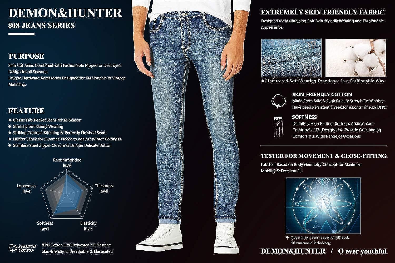 Demon Hunter 808 Skinny Series Hombre Pantalones Vaqueros Pitillos Jeans Vaqueros
