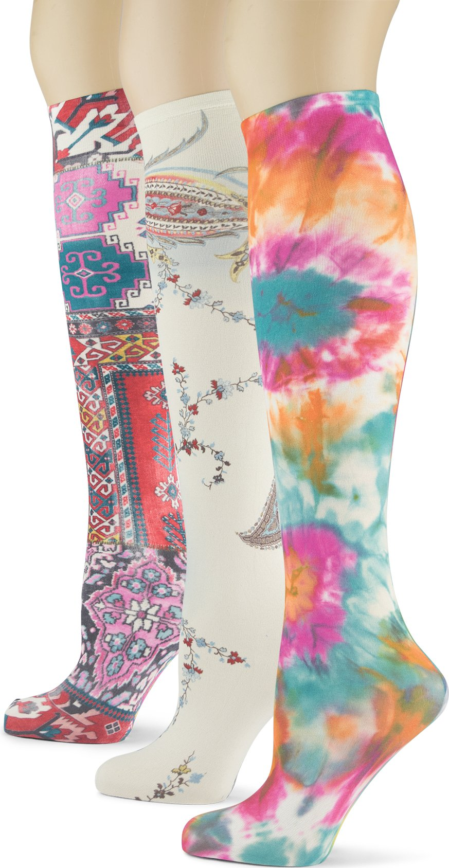 Knee High Trouser Socks w/Colorful Printed Patterns - Made in USA by Sox Trot (3 Rich Jewels)