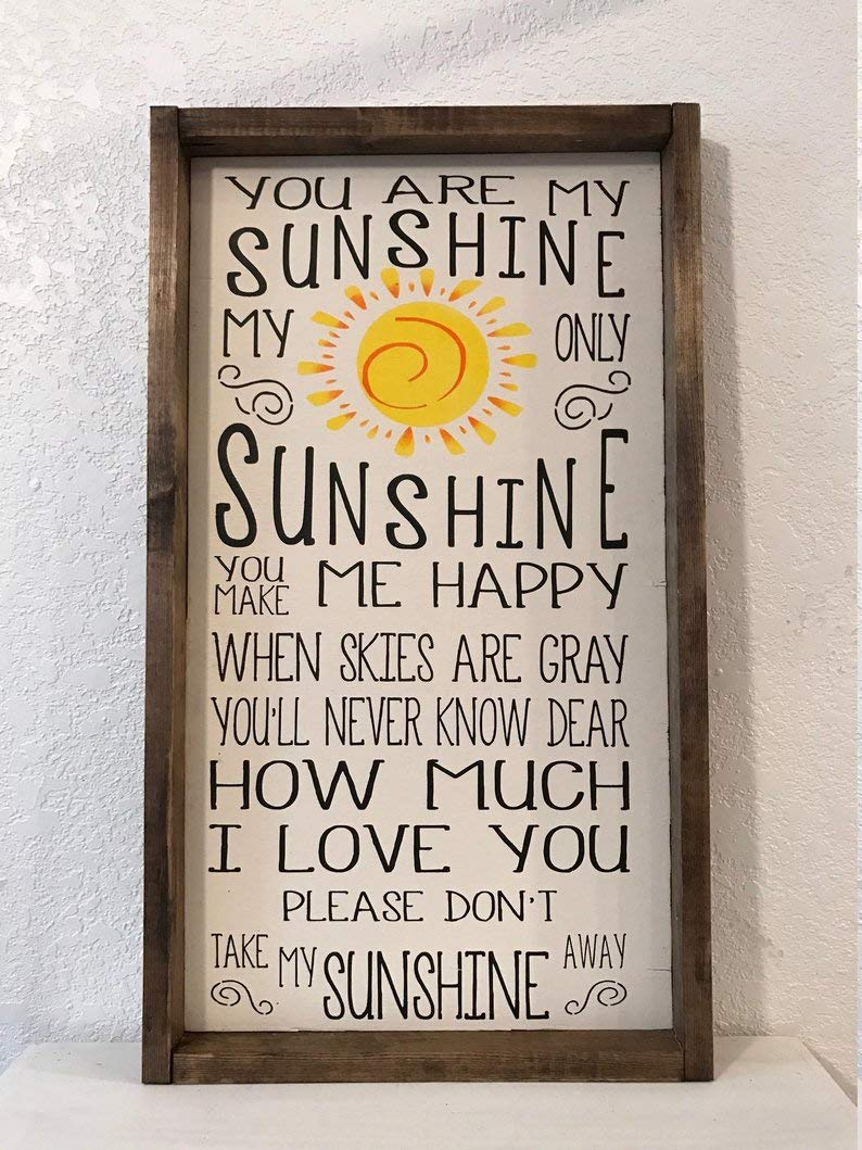 CELYCASY You are My Sunshine Sign Framed Wood Sign, Nursery Decor, Baby Room