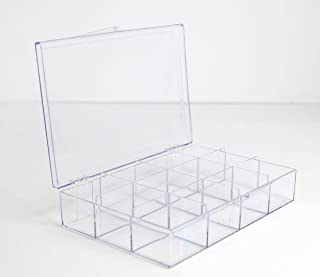 product image for Clear 12 Compartment Hinged Plastic Box - 4 Pieces