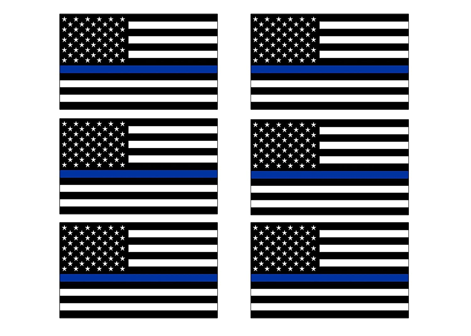 Thin Blue Line Blue Lives Matter Flag Sticker Vinyl Decal Support of Police and Law Enforcement Officers 6 Pack