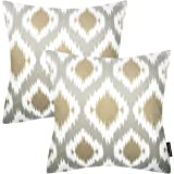 Phantoscope New Living Series Geometric Graphic Decorative Throw Pillow Cushion Cover Set of 2 (Coffee)