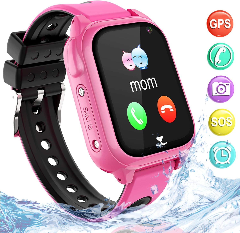 Impermeable GPS Smartwatch para Niños, IP67 Impermeable Reloj Inteligente Phone con GPS LBS Tracker SOS Chat de Voz Cámara Podómetro Juego Watch Niño niña Compatible con iOS Android (SS8-Pink)