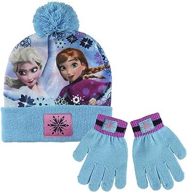 GIRLS DISNEY FROZEN WINTER POMPOM BOBBLE HAT AND GLOVE SET GOOD QUALITY