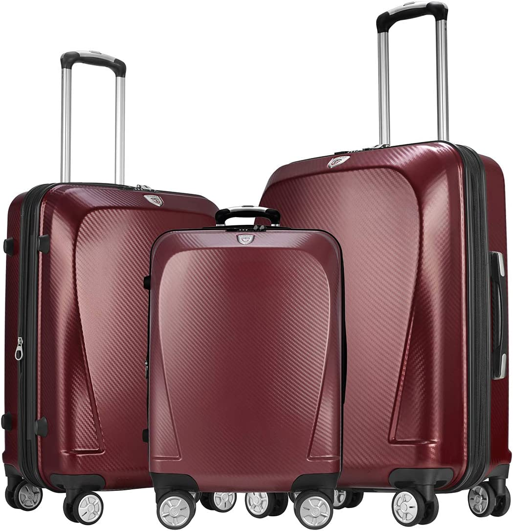 GinzaTravel Widened and thickened large capacity PC Material Luggage 3 Piece Sets Lightweight Spinner Suitcase Luggage Expandable all 20 24 28