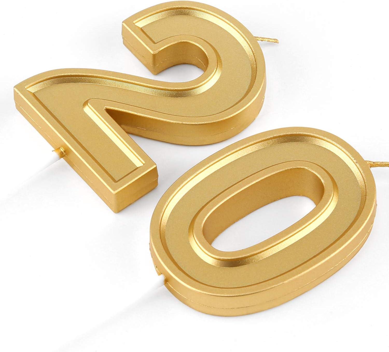 BBTO Bougies de Num/éro de 21e Anniversaire 3D Bougies de G/âteau en Forme de Diamant D/écoration de G/âteau Topper de Num/éro 21 pour Anniversaire Mariage C/él/ébration Fournitures Or