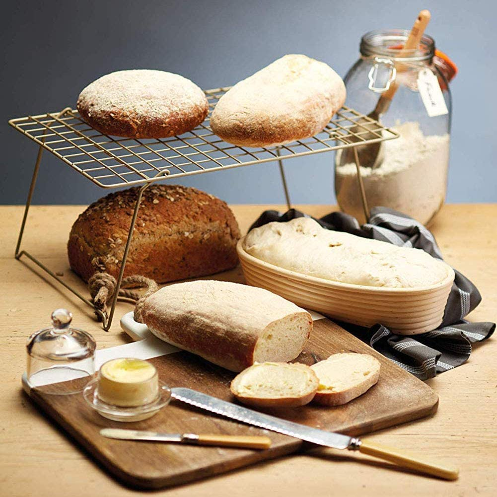 SAMTITY Oval Bread Proofing Basket Large Banneton Proving Basket Natural Rattan Sourdough Proving Basket for Professional Home Bakers