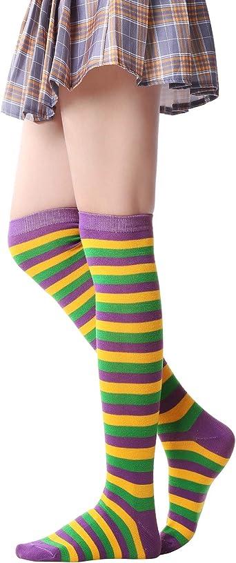 Girls Multi-color Cosplay Stockings Christmas Thigh-Highs Over Knee Long Socks