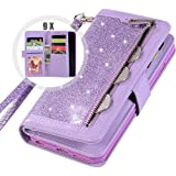 Galaxy S9 Bling Wallet Case for Women,Auker Trifold 9 Card Holder Folio Flip Glitter Sparkly Protective Leather Fold…