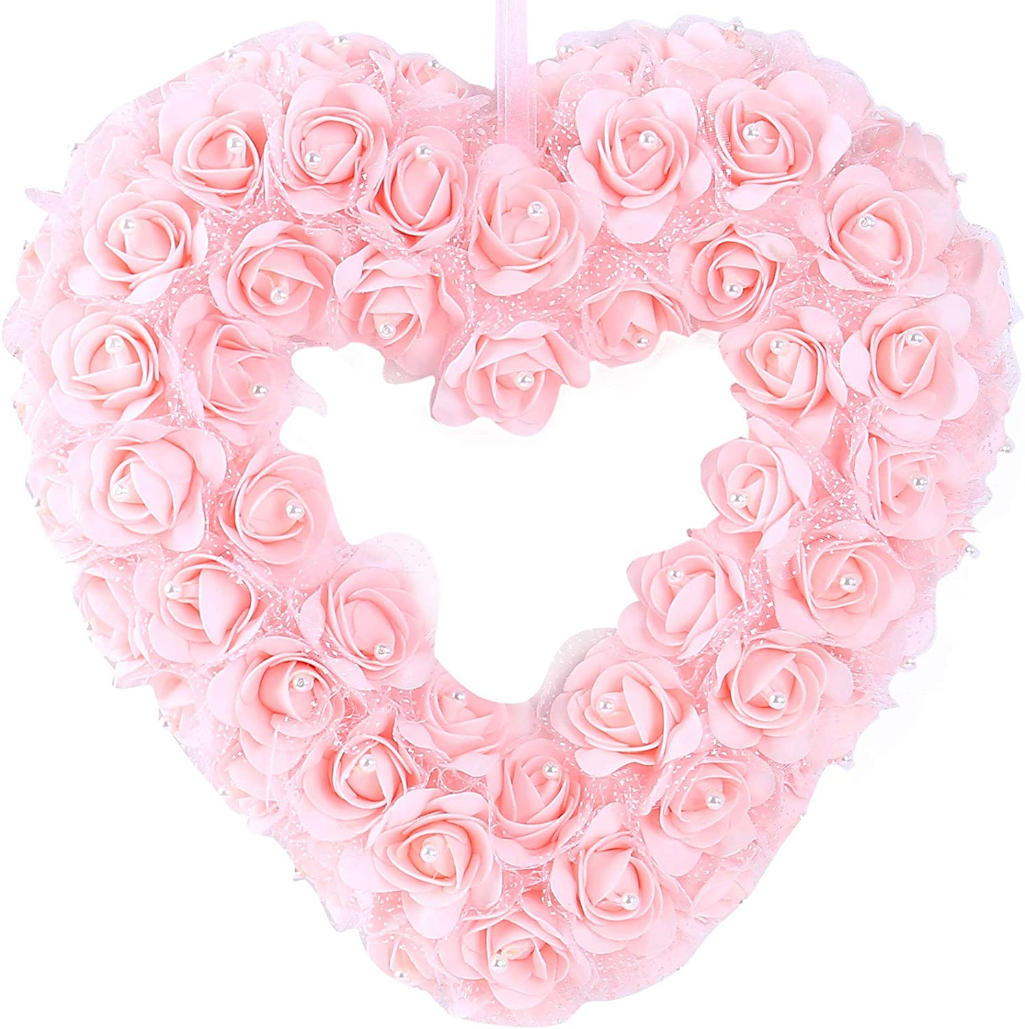 idyllic Heart Shaped Wreath Floral Rose Artificial Garland Door Wreath for Home Wedding Valentine's Day Decoration, Pink, 14 inches