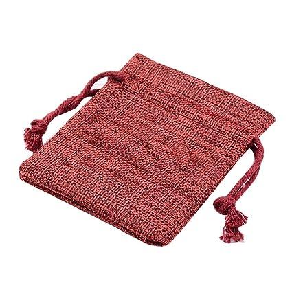 NBEADS Bolsas pequeñas, 5 Piezas 8 × 10 cm Rojo Oscuro Tela ...
