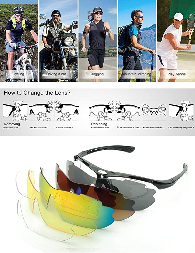 e119a6043b2 IALUKU Cycling Sunglasses Polarized with 5 Interchangeable Lenses ...