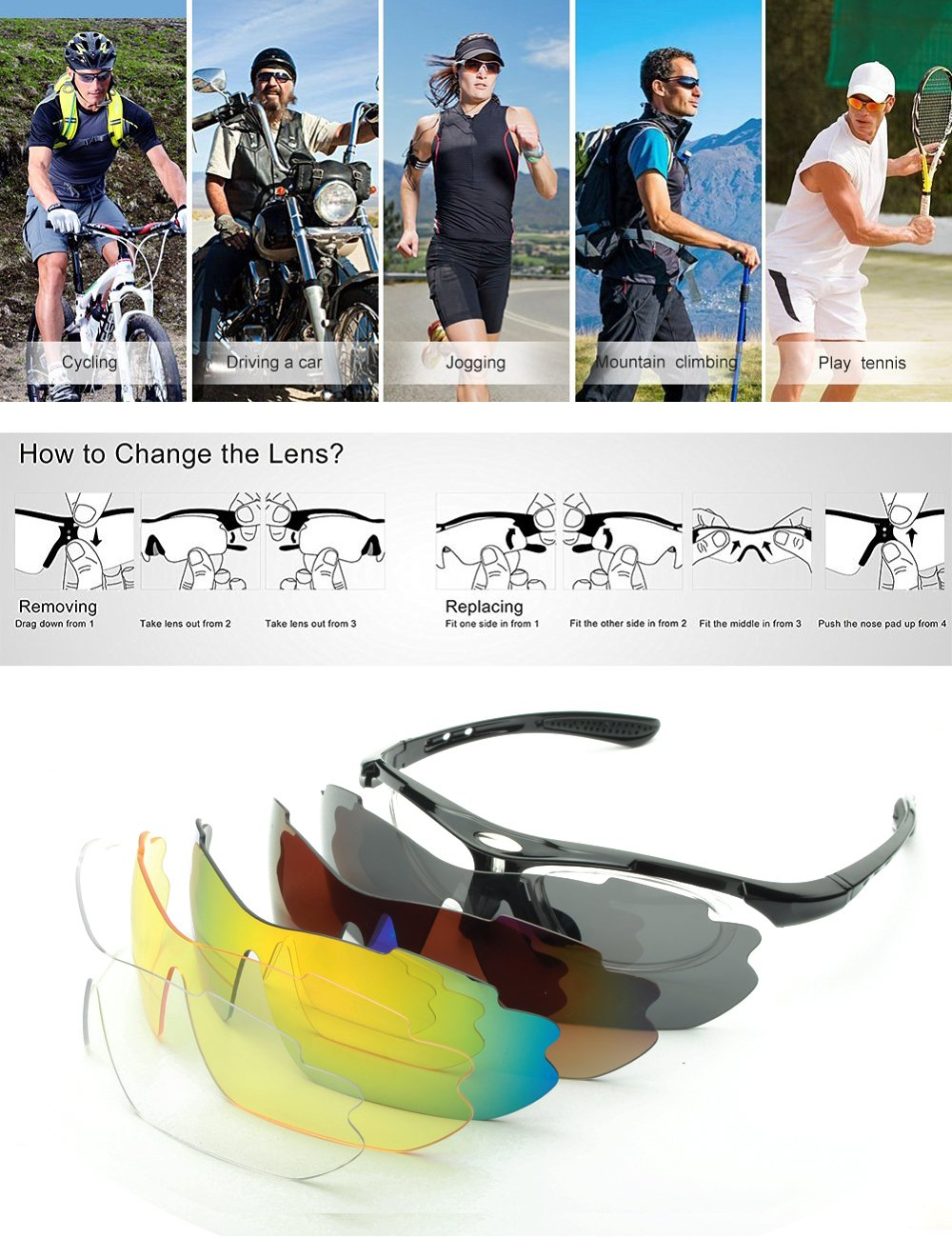 IALUKU Cycling Sunglasses Polarized with 5 Interchangeable Lenses, Sports Sunglasses for Men Women Driving Baseball Fishing Golf (Black, 79)