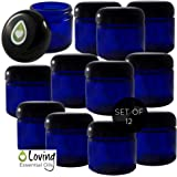 Loving Essential Oils Glass Jar with Lid, Cobalt Blue, Set of 12  (2 oz. Each)