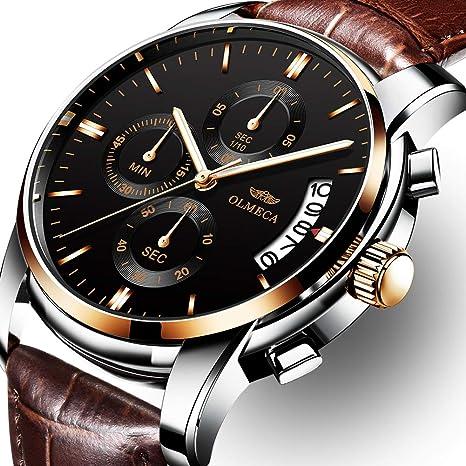 OLMECA Men's Watches Luxury Wristwatches Waterproof Business Quartz Watches Brown Leather Watch