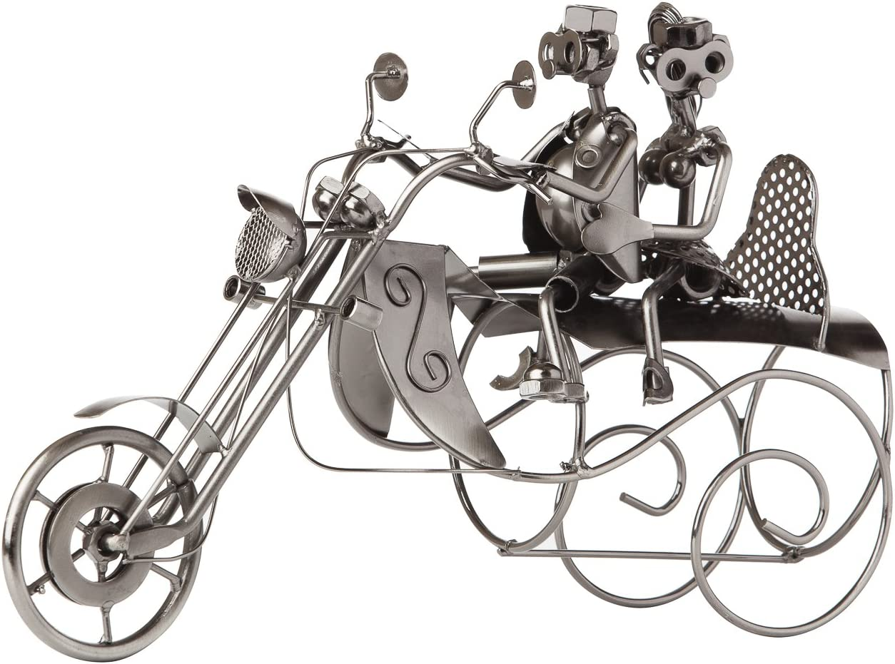 Brubaker Bottle Holder Motorcycle Couple with Dog in Sidecar Metal Sculpture including Greeting Card!