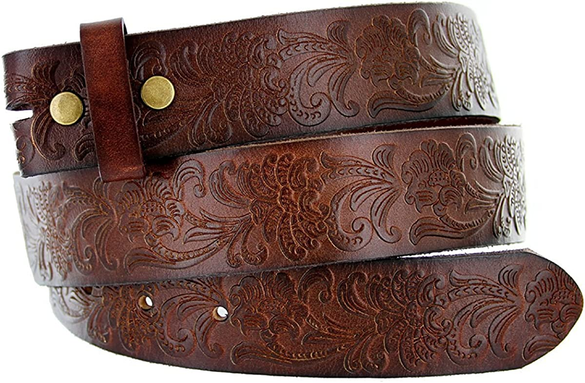 Pele Belt Men 1.5 Wide Dark Brown Flower Engraving 1 Piece Leather Strap