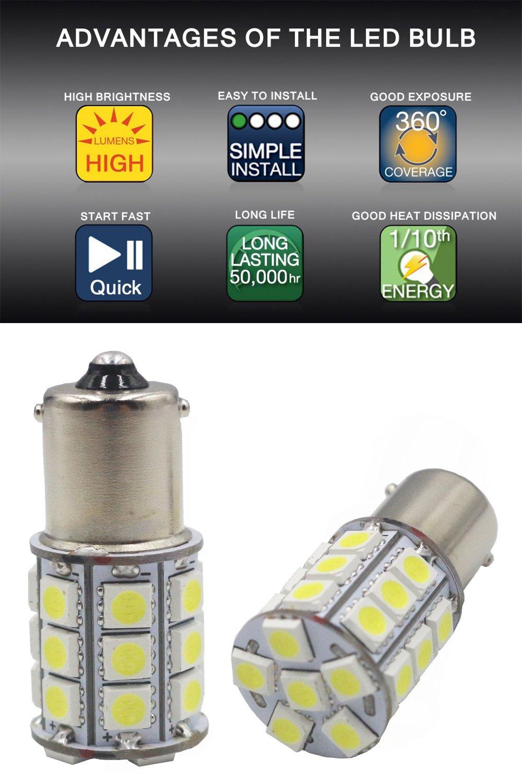 Pack of 10-6500K White 1156 BA15S 1141 1003 1073 7506 LED Bulbs 5050 27-SMD Replacement Lamps for 12V Interior RV Camper Trailer Lighting Boat Yard Light Brake Tail Bulbs JAVR
