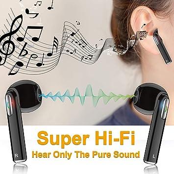 Auriculares Inalámbricos, iFuntec Auricular Inalambricos con Micrófono, Mini Auriculares Bluetooth Manos Libres Auricular Inalambricos con Cargador Portátil ...