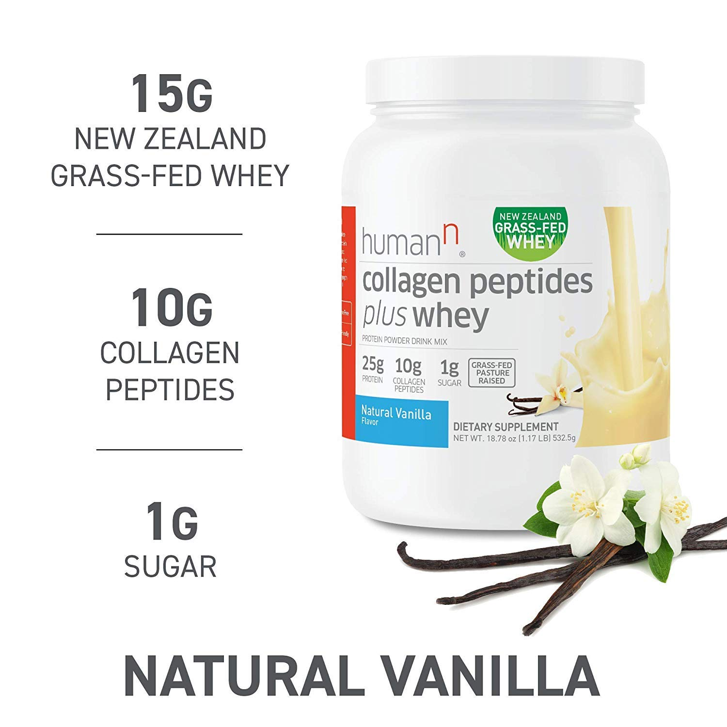 HumanN Collagen Peptides Plus Whey | Low-Carb, Grass-Fed, Pasture-Raised, 10 Grams of Collagen Peptides Plus 15 Grams of Whey Protein, Gluten Free, Soy Free, Non-GMO, Type I and III (Vanilla) by HumanN