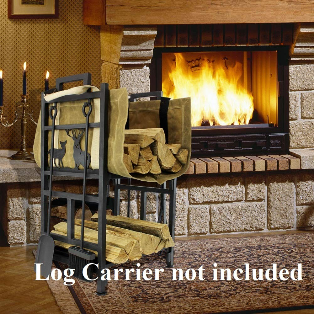 INNO STAGE Fireplace Log Holder 2 Layer Iron Fire Wood Rack with 4 Firepit Tools Set – Brush, Shovel, Tong Hook – No Screws are Required for Lumber Storage Stacking Assembly