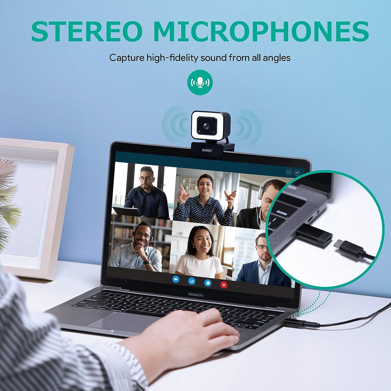 C/ámara de Transmisi/ón en Directo de 1080p 60 fps con Micr/ófonos Est/éreo y luz LED AUKEY Webcam Full HD USB-C de Escritorio o para Videollamadas