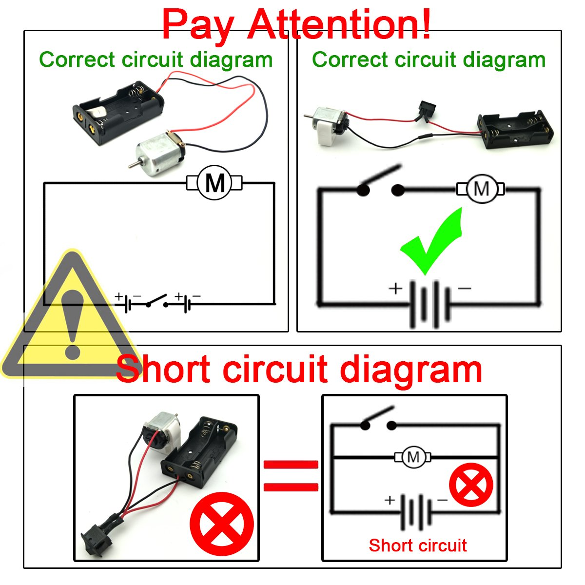 Eudax 6 Set Small Dc Motor Mini Electric Hobby Motors 15v 3v Short Circuit Electronics 15000rpm With 2x15v Aa Battery Holder Case Bracket Rocker Switch And 12pcs 25cm Electronic Wire For Diy Toys