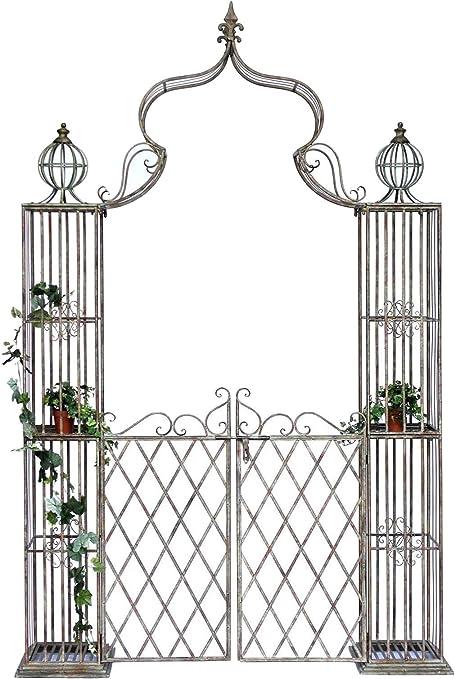DanDiBo Pforte 110241 - Pérgola con puerta para jardín (metal, hierro forjado, 274 x 172 cm)