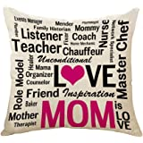 PSDWETS Home Decor Cotton Linen Throw Pillow Case Cushion Cover 18 X 18,Funny Gifts,Mom Gifts,Mother's Day Gifts