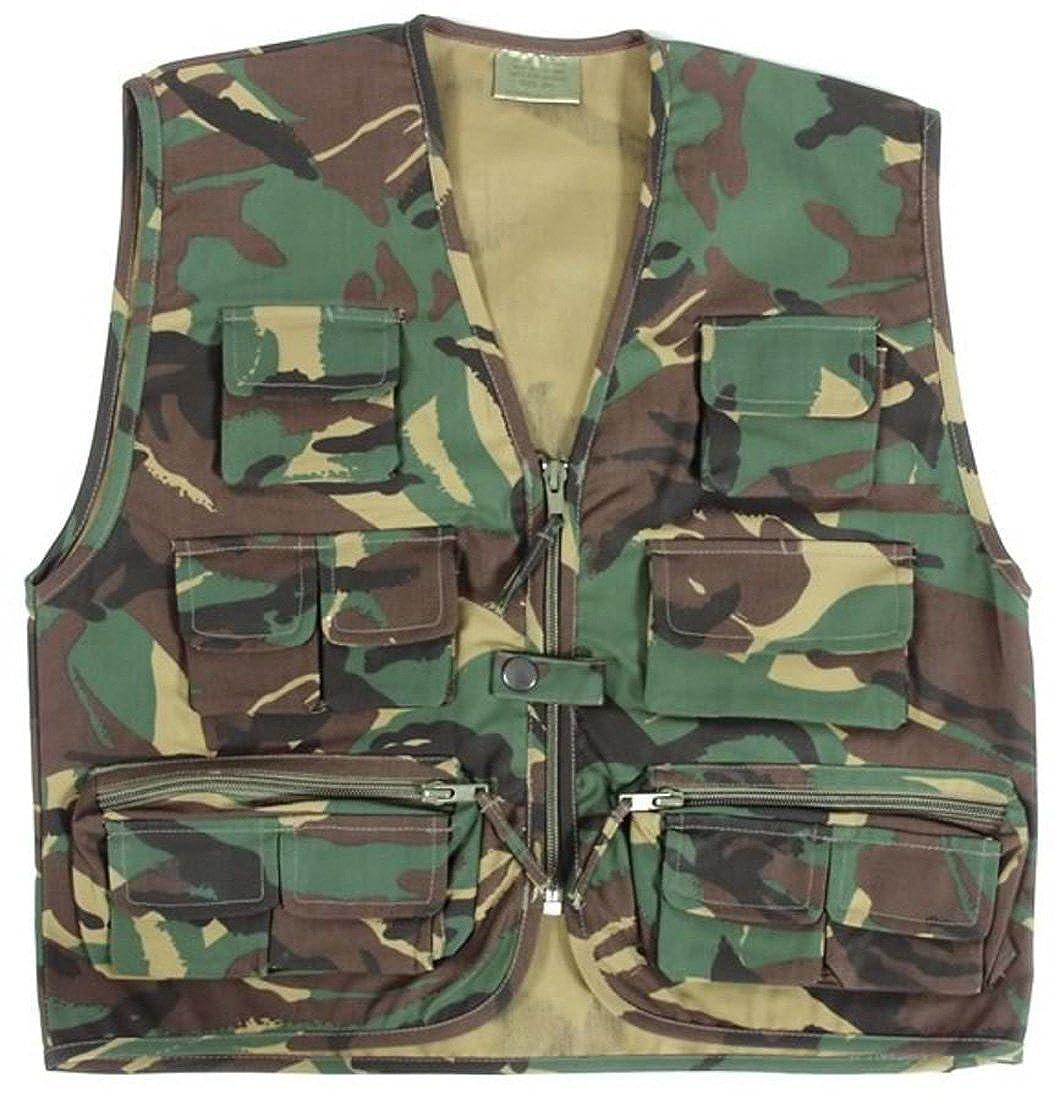 Children/'s Army Camo Woodland Camouflage Kids Multi Pocket Vest New
