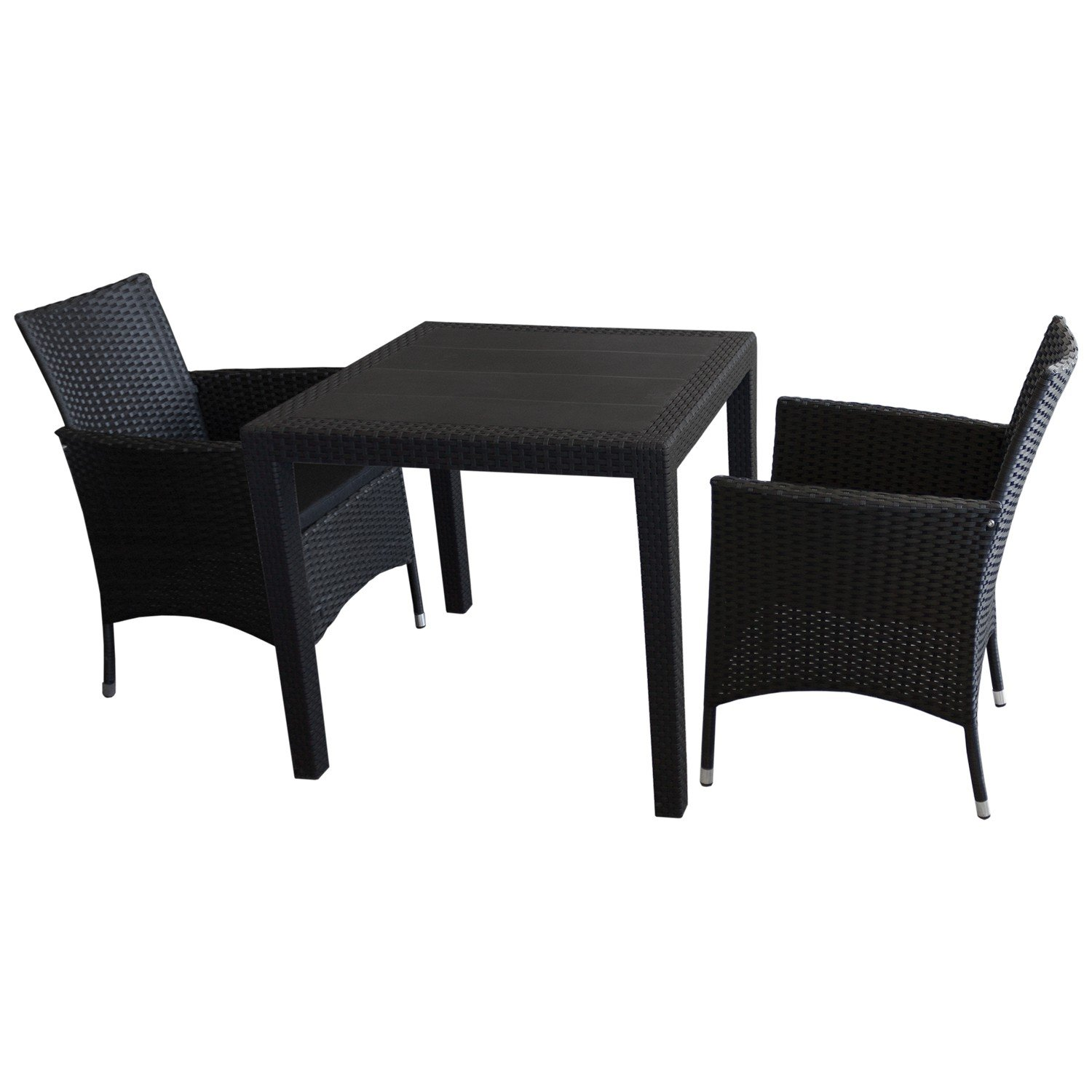 3tlg sitzgarnitur balkonm bel bistro set gartenm bel gartentisch kunststoff rattan look. Black Bedroom Furniture Sets. Home Design Ideas