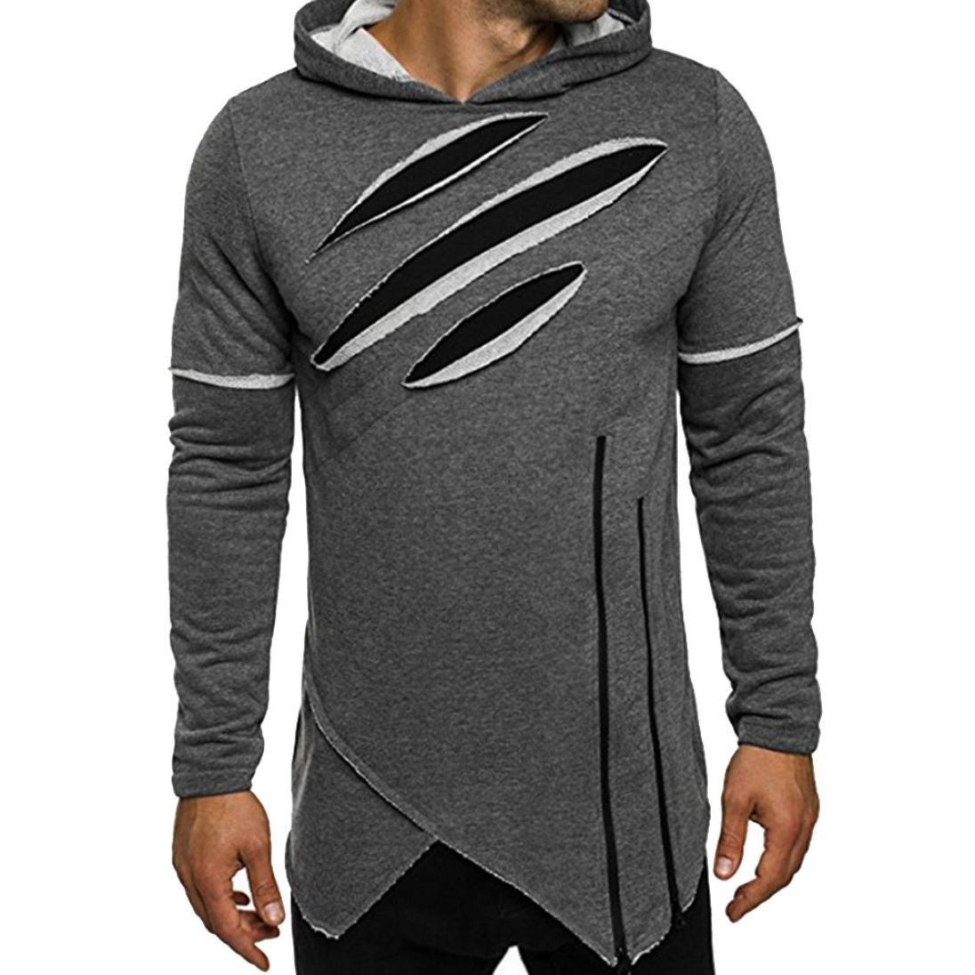 Ankola Mens Fashion Long Sleeve Patched Design Hoodie Hooded Sweatshirt Tops Jacket Coat Irregular Hem (XL, Gray)