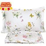 FADFAY Farmhouse Butterfly Meadow Bed Sheet Set 4-Piece 100% Cotton Stain Drill Sheets Queen Size