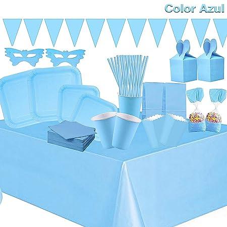 Cotigo-Set Vajilla Cumpleaños Kit de Articulo Fiesta para 16 Liso Color Azul