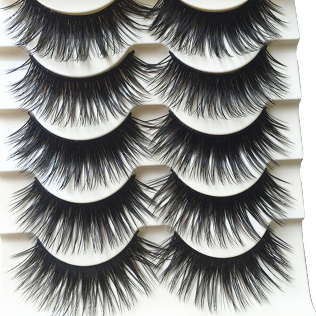 Pestañas postizas Derkoly, paquete de 5 pares de pestañas negras gruesas y largas de ojos: suaves, esponjosas naturales, a la moda, pestañas falsas flexibles y reutilizables para maquillaje.