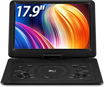 【Upgraded】 DR.Q 14.1'' Portable DVD Player with 5 Hours Rechargeable Battery, 1280x800 HD Swivel Screen, Remote Control, 5.9ft Car Adapter, Supports SD Card, USB Port and Multiple Disc Formats-Black